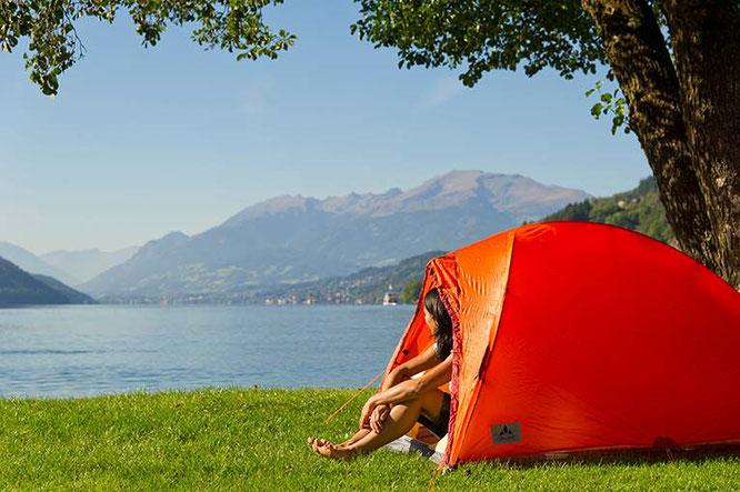 In der Partnerregion für Camping- & Caravaning Kärnten liegen viele Campingplätze an Gewässern, wie hier am Millstätter See / Bildnachweis: Kärnten Werbung / Franz Gerdl