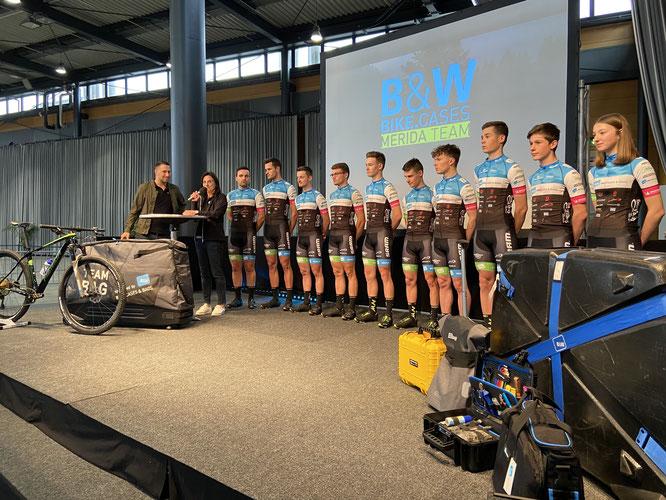 Vorstellung des B&W bike.cases Merida Teams Anfang März 2020 in Freiburg.