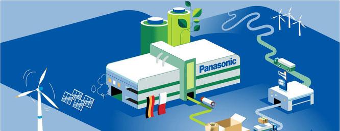 Panasonic Energy produziert in umweltfreundlichen Fabriken vor Ort, verpackt und liefert auf intelligente Weise und arbeitet ökologisc//© Panasonic