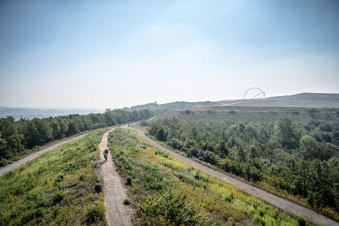 Die Haldenlandschaft Hoheward bietet optimale Voraussetzungen zum Ausprobieren der Räder und des Equipments der Aussteller. Bildnachweis: © radrevier.ruhr/Dennis Stratmann
