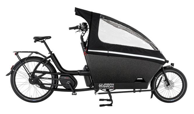 Urban Arrow Family auch mit der geräumiger und stoßfester Transportbox zu haben