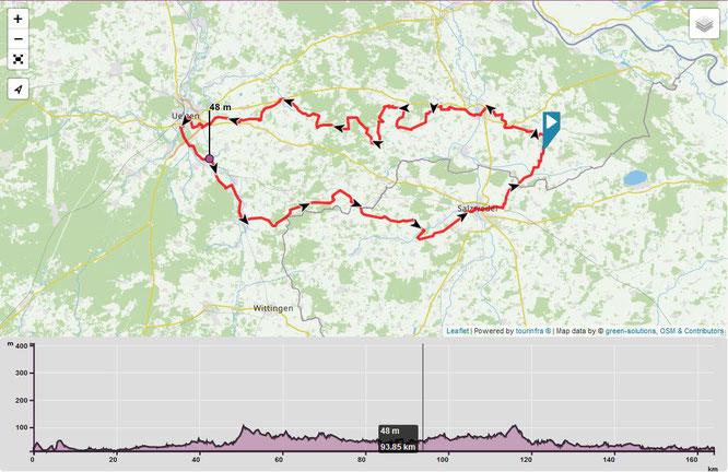 """Streckenverlauf des """"Hanse-Wendland-Radwegs"""". Mehr unter: https://www.radregion-uelzen.de/hansewendlandradweg/"""