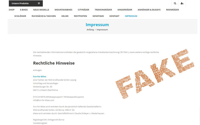 Warnung vor Fake-Shop Fun-for-bikes.com