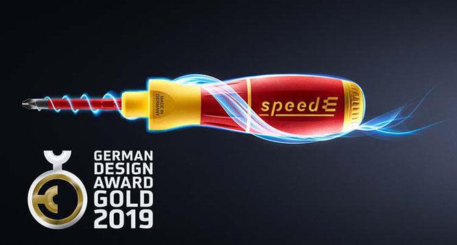 Mehrfach ausgezeichnet, nun noch in GOLD mit dem German Design Award 2019: der Wiha E-Schraubendreher speedE® / Foto: Wiha