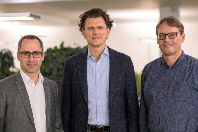Bild (v. l. n. r.): Matthias Schneider (Geschäftsführer MLF Mercator-Leasing GmbH & Co. Finanz-KG), Holger Tumat (Geschäftsführer JobRad GmbH) und Roland Potthast (Geschäftsführer JobRad Leasing GmbH)