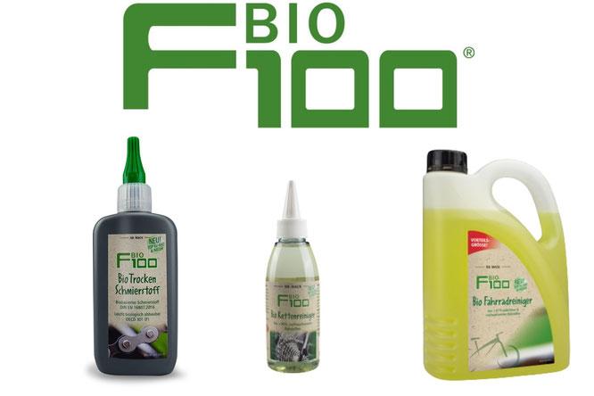 Neuer F100 Bio Kettenreiniger und F100 Bio Trocken Schmierstoff