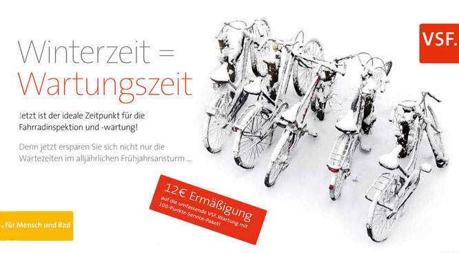 Gut gewartet durch den Winter - VSF..Winterservice: 12 Euro Rabatt auf die  Fahrradwartung