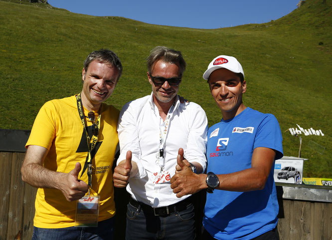 Foto (Sabine Jacob): Tirols Radsportleidenschaft vereint (Autor Josef Bernhart aus Südtirol mit Team-Manager Thomas Pupp und Tirols Ex-Profi Thomas Rohregger