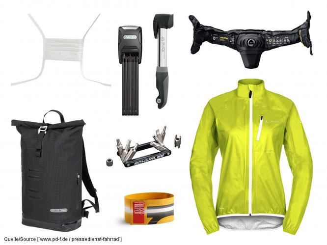 Das Wichtigste an Ausrüstung für Fahrradpendler: Kopfschutz (hier: Airbag-Halstuch), wetterfeste Jacke, Hosenbeinklammer, Luftpumpe und Mini-Tool, Schloss und regendichte Tasche.
