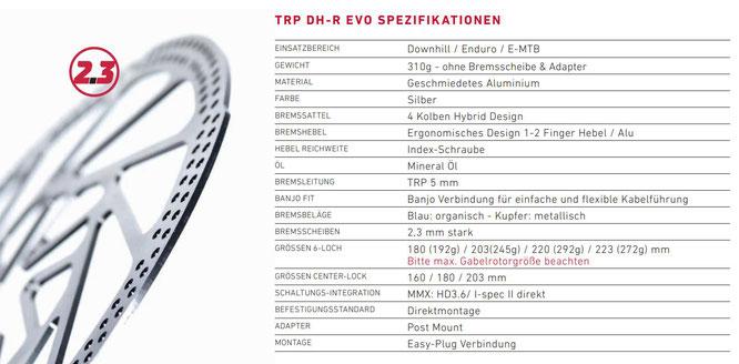 TRP DH-R Evo Spezifikationen
