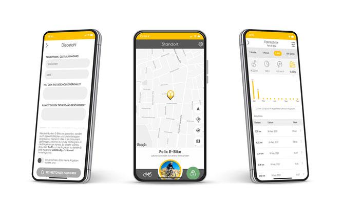 Die App von IT'S MY BIKE bietet neben dem Diebstahlschutz mit Wiederbeschaffungsservice auch die Möglichkeit, Fahrdaten zu analysieren. Optional kann ein digitaler Notfallassistent dazu gebucht werden.