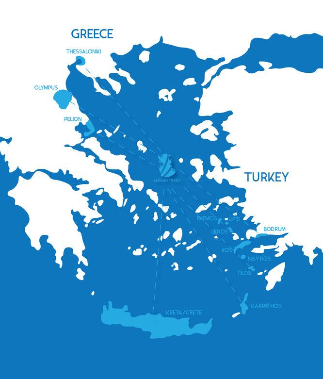Karte der vorhandenen Trails - Viele Trails sind schon erschlossen, noch mehr stehen noch an. Bildnachweis: Aegean Trails