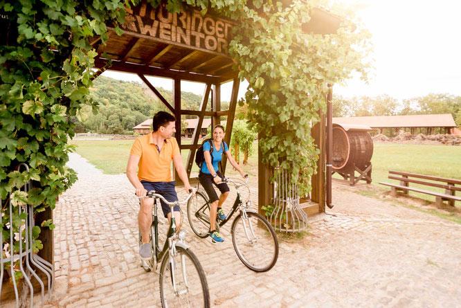 Radfahrer unter dem Thüringer Weintor in Bad Sulza am Goetheradweg. Bildnachweis: Saale-Unstrut-Tourismus e.V., Transmedial