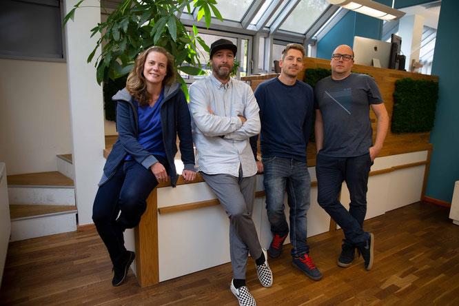 Von li. nach re.: Danielle Reiff-Jongerius (Gründer), Tom Copsey, Lars Wich (Freelancer), Philipp Reiff