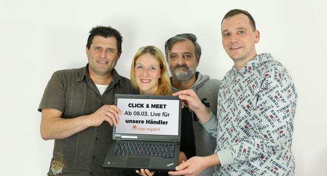 Bike Angebot - CLICK & MEET - Bild vlnr: Hasan Uslu, Nicole Schöttle, Daniel Richter, Friedemann Vieweger