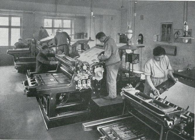 Druckerei 1930_Foto aus_Der Weg des Bergverlags Rudolf Rother 1920 - 1930_Archiv Rudolf Rother jun