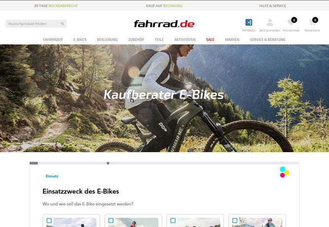 Der digitale Kundenberater von neocom.ai ist eine der Möglichkeiten, um auf fahrrad.de das richtige Fahrrad oder Elektrofahrrad zu finden. [Screenshot: Fahrrad.de]