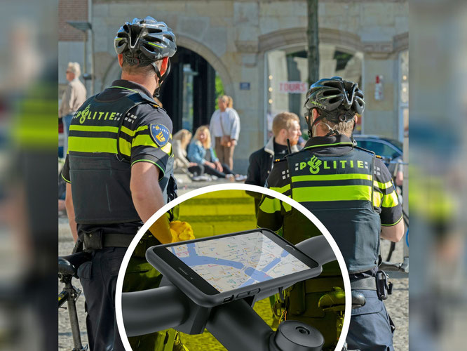 Niederländische Polizeifahrräder mit SKS Smartphonehaltern ausgestattet / Fotomontage: SKS GERMANY/shutterstock