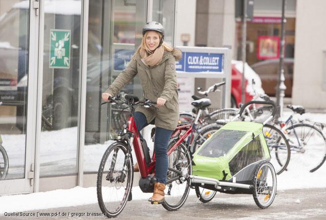 Mit dem Rad zum Kindergarten – auch im Winter