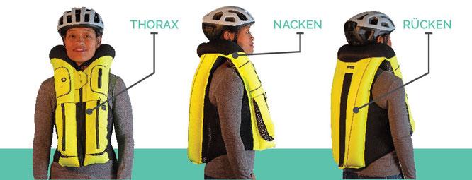 Die Weste schützt Thorax, Rücken und Nacken.