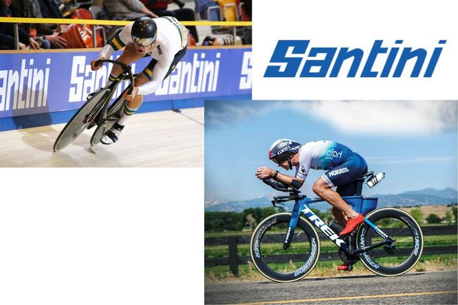 Bild oben links: SANTINI Cycling Australia / © Gary Main  // Bild unten rechts: SANTINI Thriathlon
