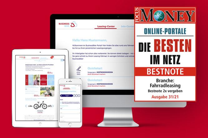 """BusinessBike Echtzeit-Portal wurde in der Kategorie """"Fahrradleasing-Portale"""" mit der """"Bestnote"""" ausgezeichnet"""