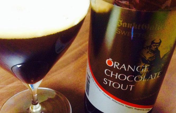 今日は神奈川県厚木市のクラフトビール醸造所・サンクトガーレンより「オレンジチョコレートスタウト」をぐびっと。この風味、いい!