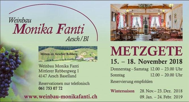 Metzgete im Winzerbeizli bei Weinbau Monika Fanti. In Aesch im Klustal. 15. - 18. November 2018.