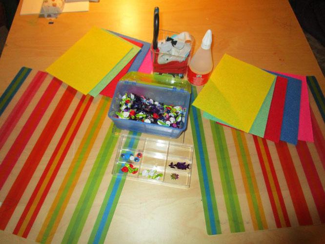 Einladung bzw. Provokation für Kinderkunst mit Filz und Kleber