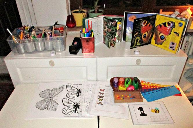 Unser Schmetterlingstisch, eine Reggio-Provokation zum Erkunden und Gestalten