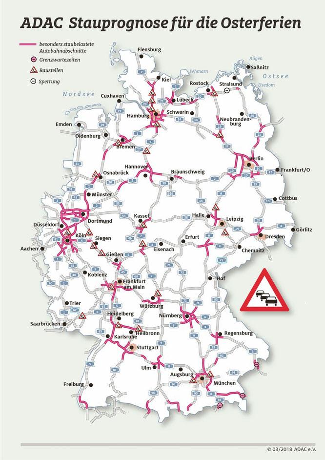 Die Verkehrslage auf den Autobahnen zu Ostern im Zeitraum 29. März bis 2. April (Grafik: obs/ADAC/ADAC e.V.)