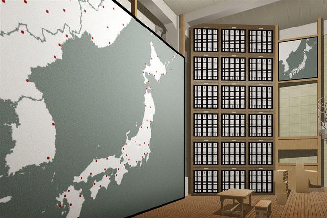 作戦室の復元CG(札幌市平和バーチャル資料館より)