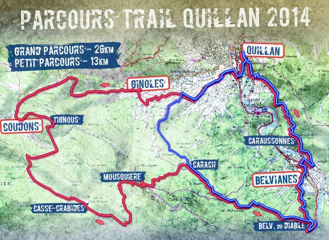 Parcours Trail Quillan 2014