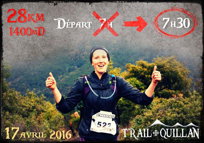 Trail Quillan 2016 - Changement horaire départ du 28km