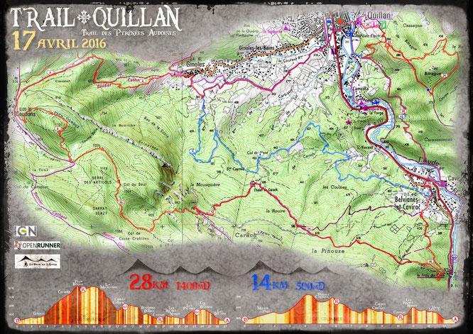 Trail Quillan 2016 - Plan des parcours