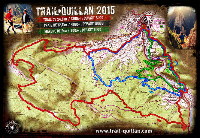 Trail Quillan 2015 - Plan des parcours