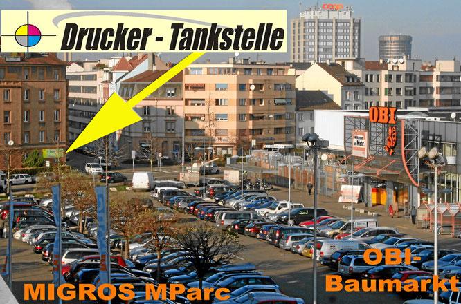 Druckerpatronen günstig in Basel am Dreispitz. Beim Migros MParc und OBI-Baumarkt.