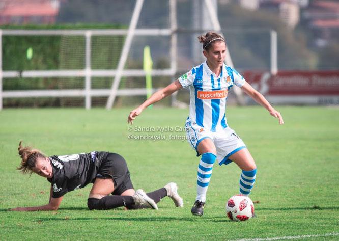 Paola Soldevila anotó el segundo tanto de las txuriurdin - Foto: Sandra Ayala