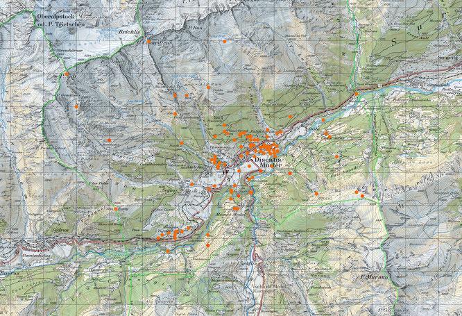 Abb. 1: Sämtliche Fundpunkte von Flechten auf dem Gebiet der Gemeinde Disentis. (Quelle: Swisstopo)