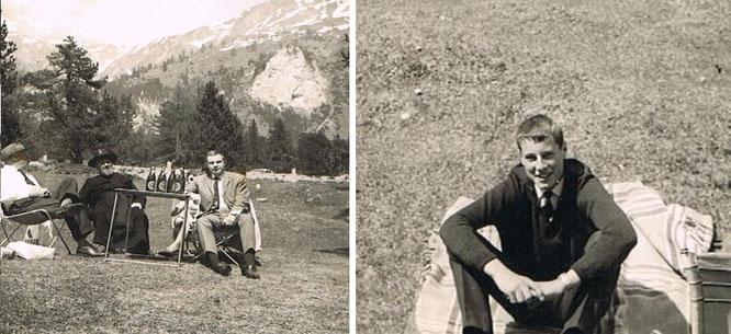 """Die """"Kaufmänner"""" beim gemeinsamen Picknick am Lukmanier 1962; links mein Vater Max, mein Onkel P. Burkard, mein Bruder Max und rechtes Bild ich."""