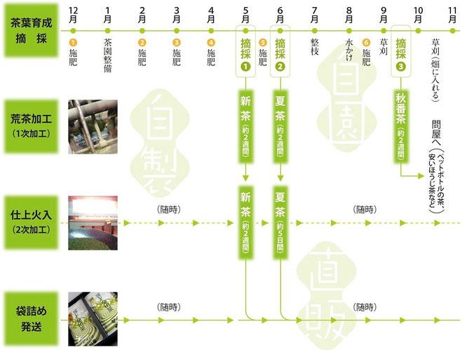 農作業から製茶まで堀川園のお茶づくりの説明