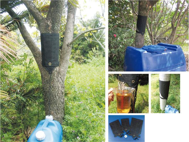 木の幹に巻きつけ雨を貯める取水道具です