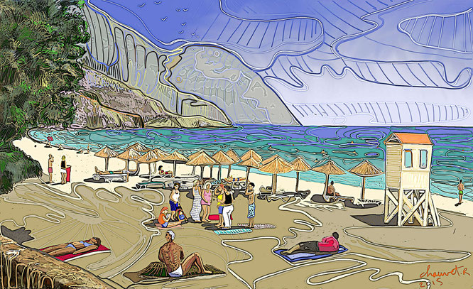 Sougia Beachk, digital drawing, dessin digital, romain chauvet