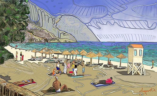 Sougia Beachk, digital drawing, dessin digital, romain chauvet