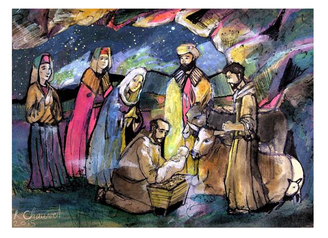 Conte de Noel, St François d'Assise, dessin digital, romain chauvet