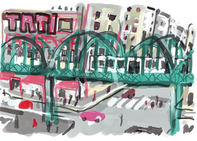 Barbes-Rochechouart, dessin digital, gimp, digital drawing