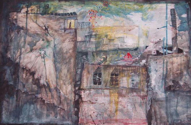 Toits de Paris, acrylique, peinture, painting, romain chauvet