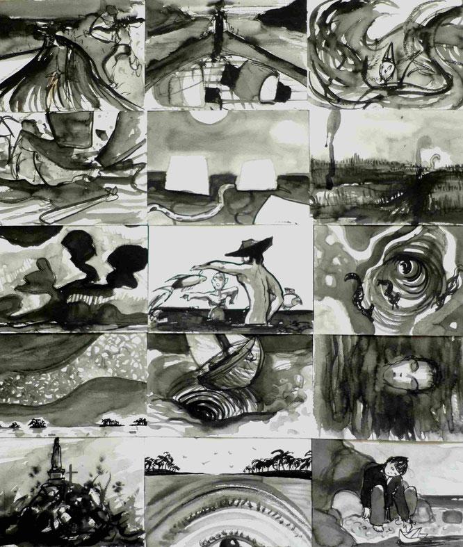 Encre de chine, d'après le 'Bateau ivre' de Rimbaud, ink, drawing, poésie, romaiin chauvet