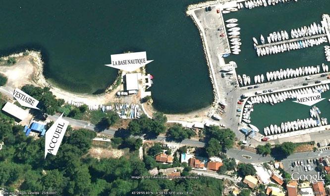 Pour accéder aux installations, prendre la direction du Port des Heures Claires puis suivre les indications ci-dessus.