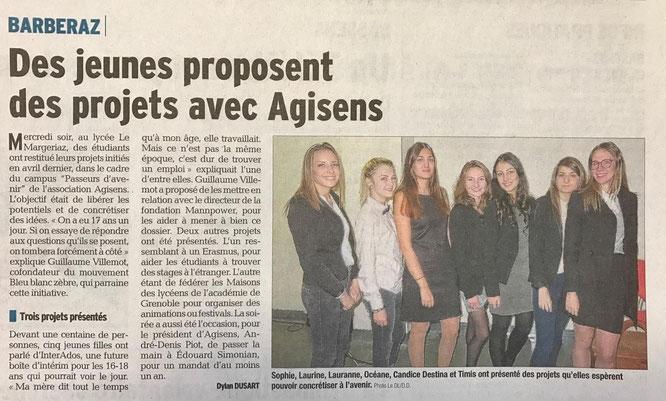 Article du Dauphine Libéré du 30 11 2016 - jeunes projets Agisens